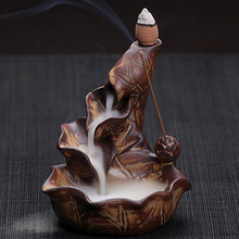 E Free Shipping Chinese Pottery Crafts Creative Home Decor Lotus Pond Smoke Back Flow Cone Incense Sticks Burner Censer(China (Mainland))