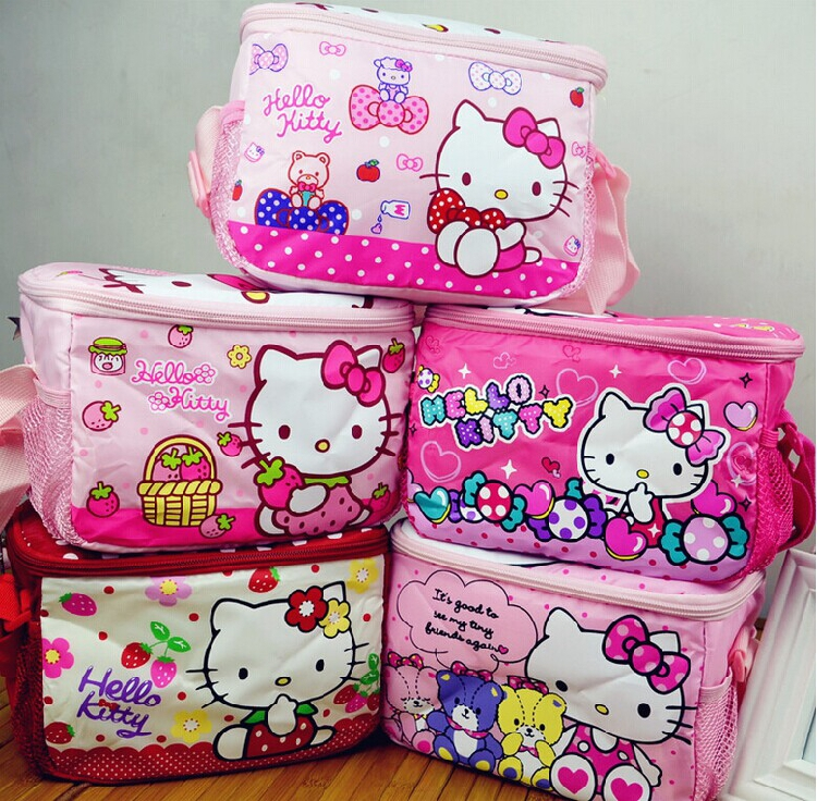 Hello Kitty Waterproof Thermal Cooler Insulated Lunch Storage Bag,kid lunch boxes Outdoor student Food Container mother baby bag(China (Mainland))