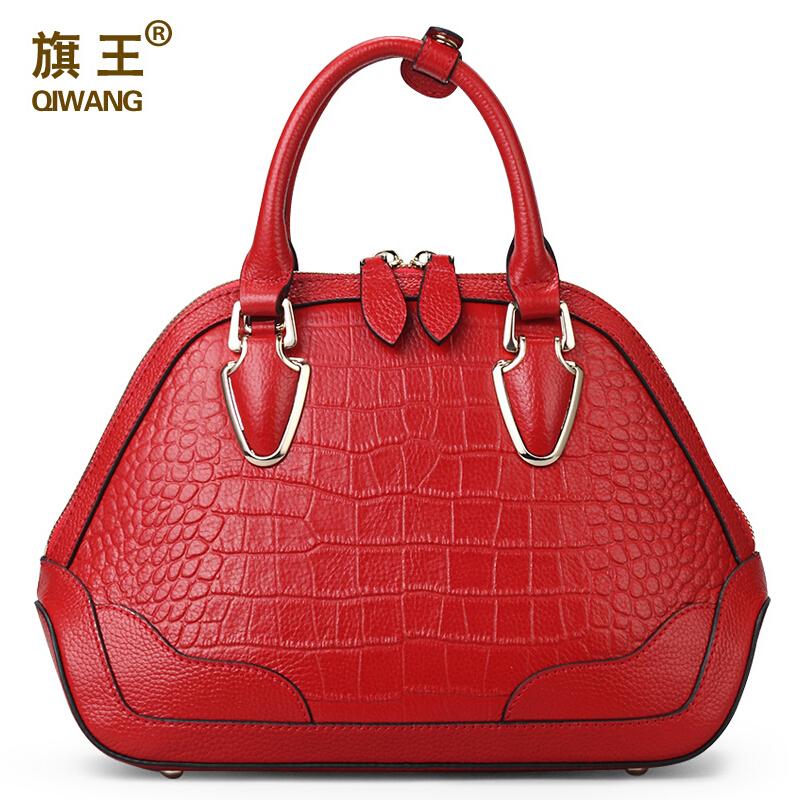famous brands QIWANG Genuine leather bag top quality women bags fashion handbags shoulder messgnger Red dark green shell bag(China (Mainland))