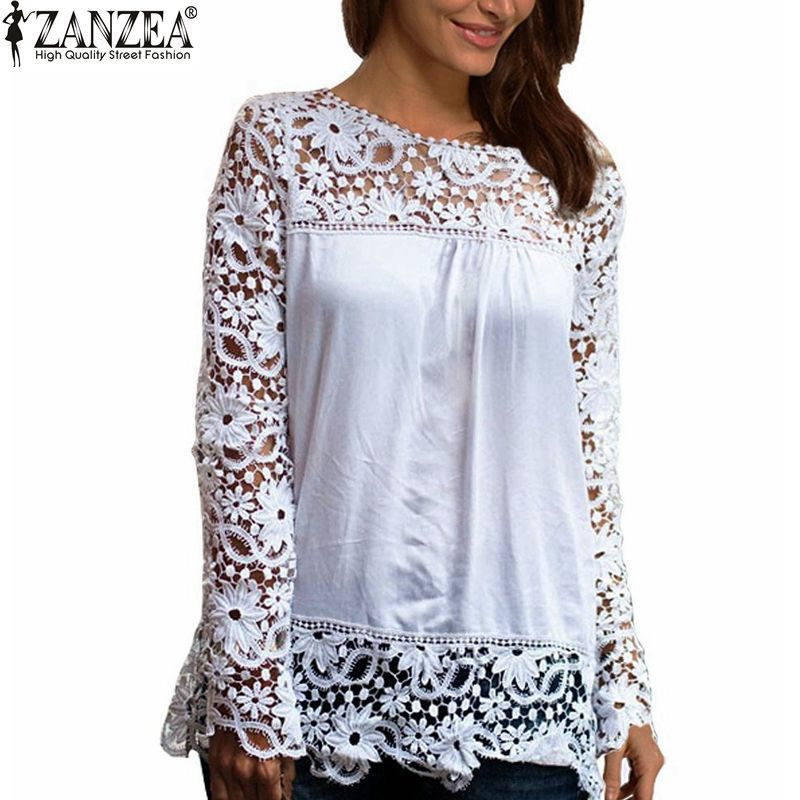 9 Colors 8 Sizes New 2015 Fashion Women Lace Chiffion Blouses Gorgeous Shirts Long Sleeve Hollow Crochet Blusas Femininas(China (Mainland))