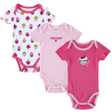 3 PCS LOT Carters Baby Boy Clothes Newborn Baby Romper Set Short Sleeved Cotton Baby Romper