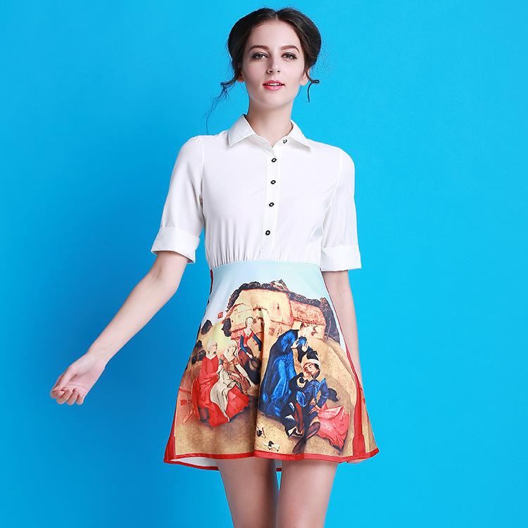 2016 Summer Autumn Runway Dress Women's turn-down shirt collar half sleeve slim printed OL casual min dress white Victoria style(China (Mainland))