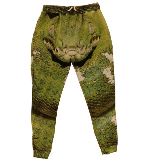Стилей хип-хоп бег брюки большой зеленый змея узор 3D штаны мужчины / женщины бегунов ...