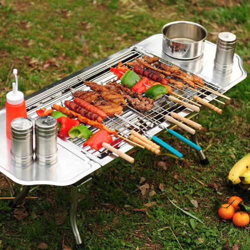 1 Set 48*33.5*29cm 3-5 Persons Stainless Steel Charcoal Grill Outdoor Picnic Folding Portable Charcoal BBQ Grill Y-C001(China (Mainland))