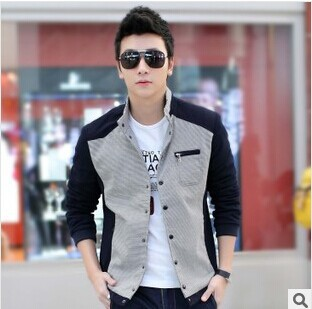 Big Size Men Plaid Jacket Brand Fashion Korean Style Top Quality Stand Collar motorcycle jacket waxed cotton custom jackets(China (Mainland))