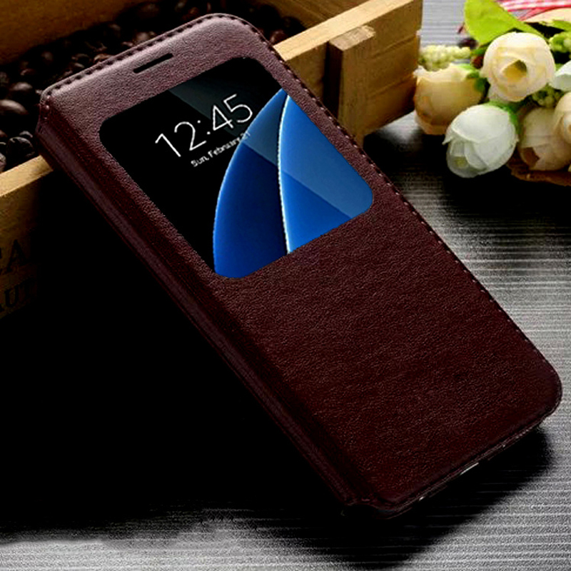 S7 Edge Mobile Phone Bag Flip Leather Cover Stand Design Luxury coque Case For Samsung galaxy S7 S7 Edge Slim View Flip Cover(China (Mainland))