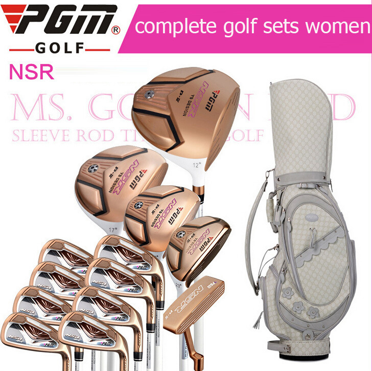 Free shipping PGM complete golf set for women,golf club sets, %100 Carbon fiber shaft set,gift a golf bag women's handbags(China (Mainland))