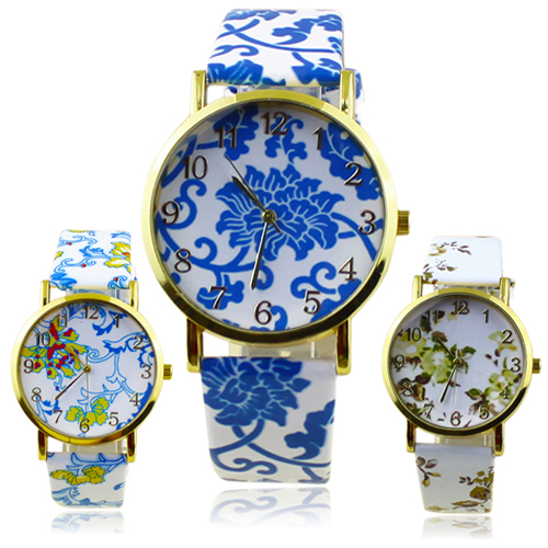 Popular font b Women s b font Flowers Pattern Faux Leather Analog Ceramic style Quartz Watches