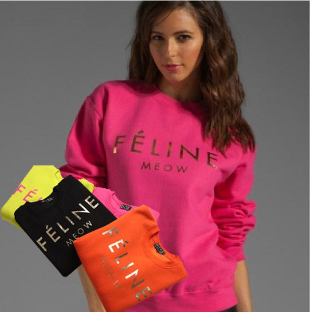 2015 fashion feline print women's jumpersuit sweatshirt 4 color size - Chic Classic Store store