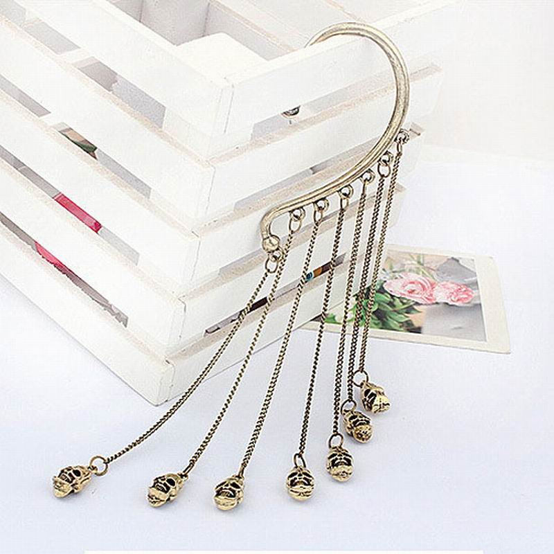 1PC Punk Gothic Skeleton Skull Chain Tassel Left Ear Cuff Warp Earring Hot Party Gifts ME049(China (Mainland))