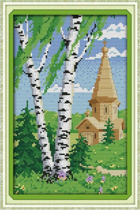 Cypress spring scenery DMC cross stitch 14ct White 11CT print DIY Cotton thread embroidery handmade needlework craft home decor(China (Mainland))