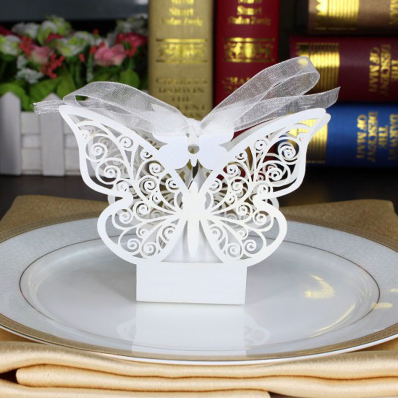 10pcs White Butterfly Wedding Favor Box Candy BoxWedding Favors GiftsWedding SuppliesWedding