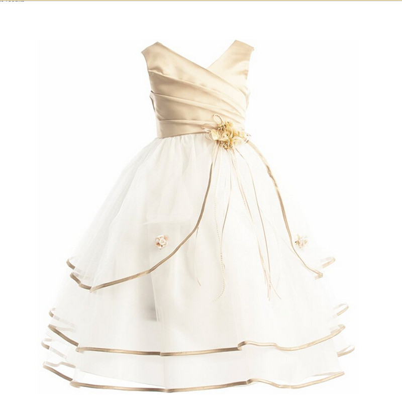 Hot Girls Clothes Christmas Baby Girls Kids Flower Party Wedding Prom Fancy Dress Little Princess Communion Dresses Ball Gown(China (Mainland))