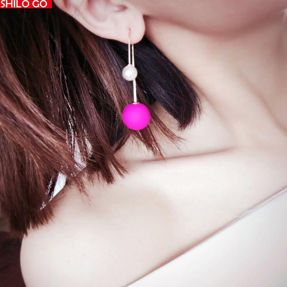 HOT Free Shipping 2016 Fashion New summer women high quality personalized candy colors hit the color multicolor ball earrings(China (Mainland))