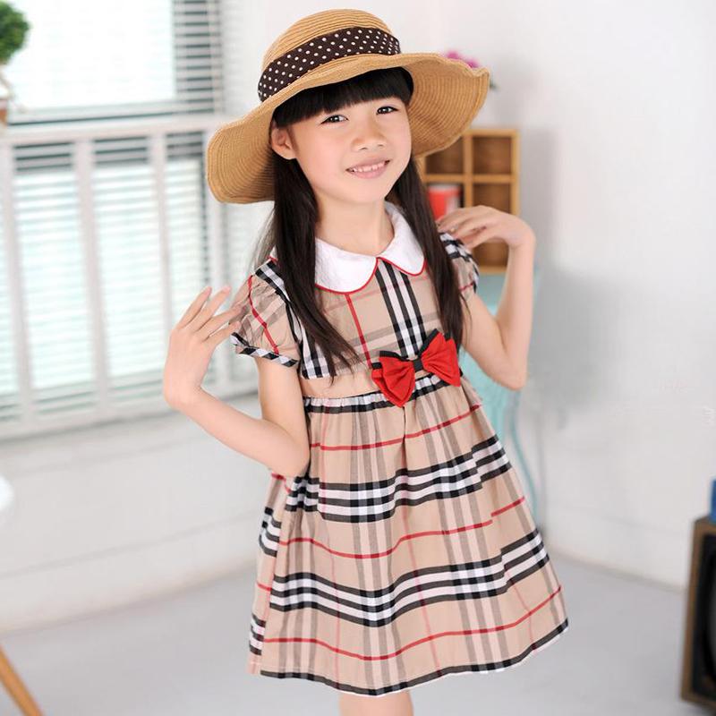 Plaid Bow Flower Children Girls Dresses Summer 2016 New Style Fashion Short Sleeve Princess Dress Fresh Kids Girls Clothes(China (Mainland))