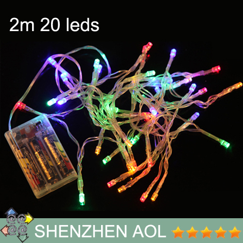 3XAA Battery 2m 20 LED string MINI FAIRY LIGHTS BATTERY power OPERATED 9colors choose Christmas New Year Wedding Decorations(China (Mainland))