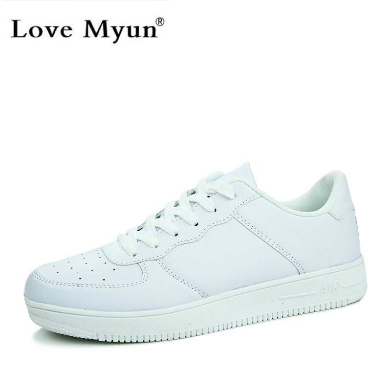 new 2016 casual shoes white pu leather top walking
