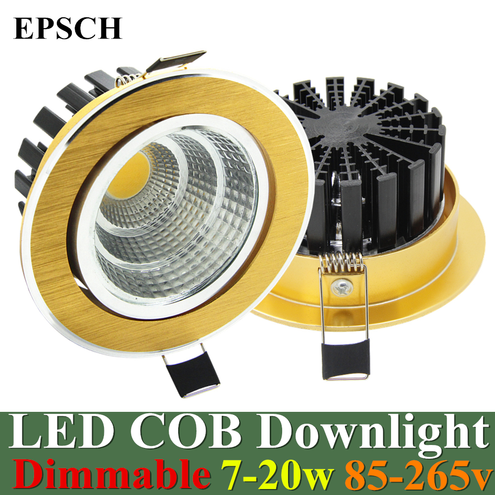 20w Led Dimmable: EPSCH Dimmable Sand Golden LED COB Downlight 7W 9W 12W 15W