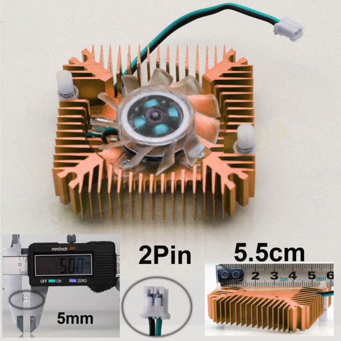 55mm 2 PIN Aluminum Snowhite Cooling Fan Heatsink Cooler for PC Computer CPU VGA Video Card 2PCS/LOT FREE SHIPPING FS006(China (Mainland))