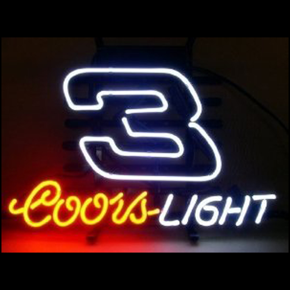 FS Neon Sign Coors Light Nascar #3 Dale Handcrafted Neon Light Sign Beerbar Sign Neon Beer Sign 24x20.Free Shipping!(China (Mainland))