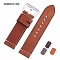 Handmade New watch band Genuine Leather Wristband Straps Silver Brushed Buckle or Plating black buckle Bracelets