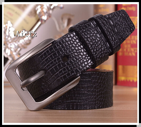 Hot Sale Faux Crocodile Leather Belt For Men Metal Pin Buckle Fashion Casual Fashion Belt As a Gift Free Shipping(China (Mainland))