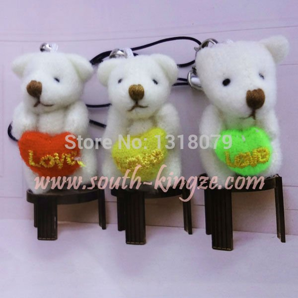 Gift!Free shipping, 100pcs/lot, Tinny teddy bear with heart, for lover. for wedding. can be use as hanger, key, mobile chain(China (Mainland))