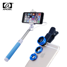 Buy Apexel 3 1 Fish Eye Wide Angle Macro lens Sumsung iPhone 7S Plus Monopod cable Selfie Stick wired monopod 96CX3 for $13.99 in AliExpress store
