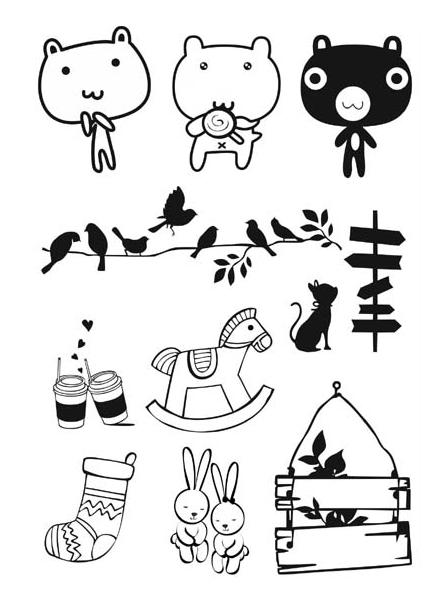 Zakka bear flocking pyrograph heat transfer printing paper for clothes t shirts iron-on cotton fabric sticker wholesale 12*17cm(China (Mainland))