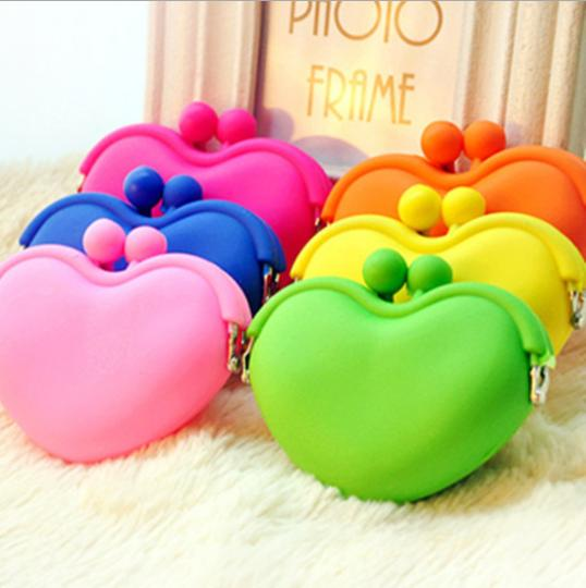 2014 Hot Sale New Portable Cute Heart Korean Coin Change Key Purse Handbag Bag Wallet(China (Mainland))