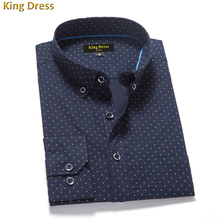 2016 Sale Special Offer Camisa Men Shirts High Quality Full Polka Dot Cotton Formal Business Men's Long Sleeve Shirt (China (Mainland))