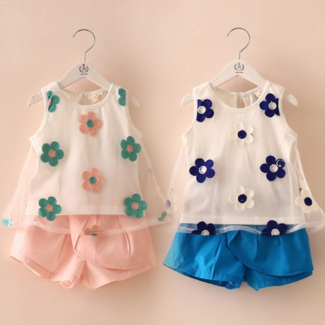 Retail 1set New 2014 Fashion Girls Sleeveless Clothing Set Flower Vest + Shorts Baby Summer Suit ZZ2229<br><br>Aliexpress