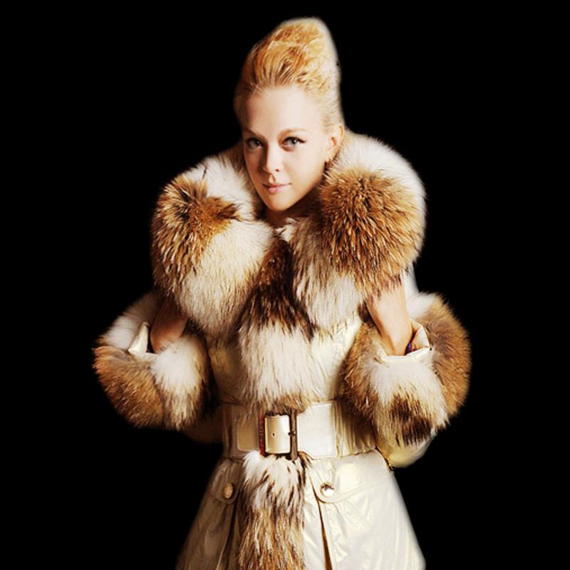 Europe High Fashion Women Luxury Real Raccoon Fur Collar Slim Coats Plus Size Winter Warm Parkas F15146 - CherryBerry Mall store