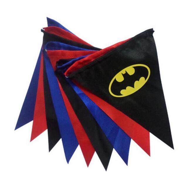 Superhéroe batman batgirl children fiesta de cumpleaños decoraciones de la boda banderín bandera de la bandera de la navidad al por menor(China (Mainland))