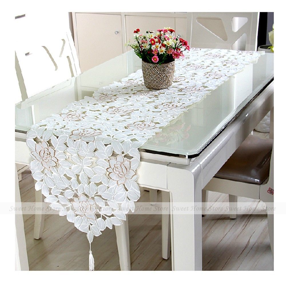 YEVITA Embroidery Flower Ivory White Cutwork Kitchen Table Runner Cloth 40x150cm(China (Mainland))