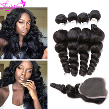 NO shedding Peruvian loose wave with closure Peruvian virgin hair with closure Peruvian virgin hair loose wave with closure (China (Mainland))