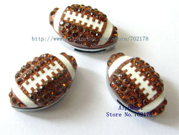 New hotsales!!! 8mm 20pcs Rugby with full whinestone slide charms fit wristband petcollar keychain