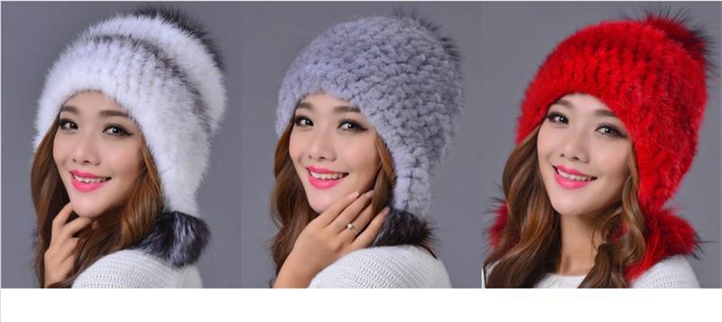 2016 New mink hat Ladies fashion Fox fur ball fur hat Mink knit hats Casual mink hat Female Headgear 03-P29-37