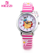 Princess Cartoon Watch HK Brand KEZZI 30M Children Watch For Gift Light Candy Zebra Colors Watches Leather Boys Girls Wristwatch