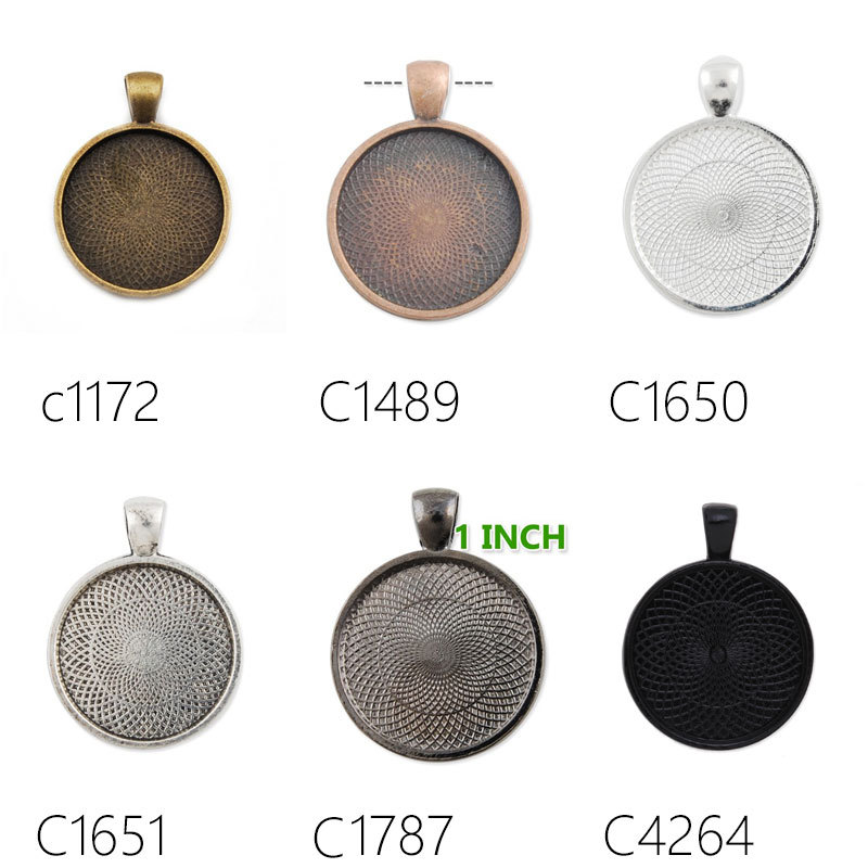 1 Inch Round Pendant Tray,Necklace Pendant Settings,25mm Bezel Pendant Blanks for Glass Cabochon,200pcs/lot-C1172-C4264(China (Mainland))