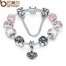 BAMOER 4Colors Original Silver Pink Heart Charm Bracelet with Safety Chain for Women Authentic Jewelry PA1452(China (Mainland))