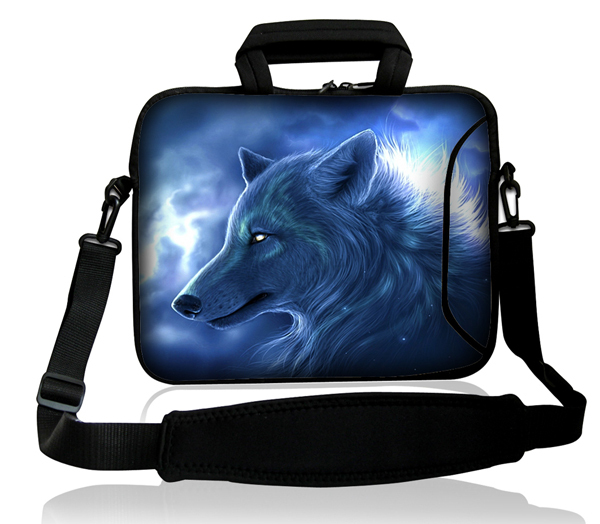 "fashion cool notebook bag wolf 15"" 15.4"" 15.6""Neoprene Laptop Carrying Bag /Side Pocket +Shoulder Strap For 15.6""(China (Mainland))"