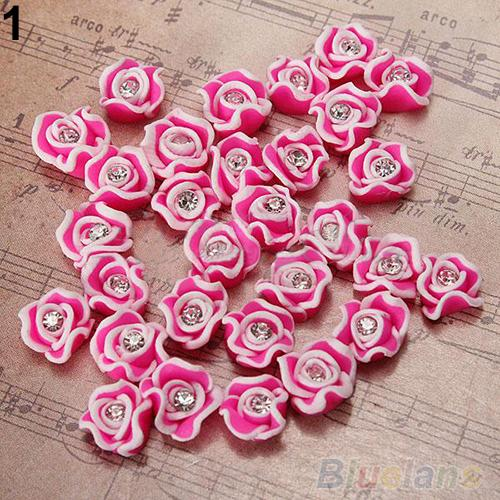 Hot20Pcs Fashion Ceramic Rubber Rhinestone Rose Flower Color Nail Art 3D Decoration Nail tools 02S3 2UG6 7CXW(China (Mainland))