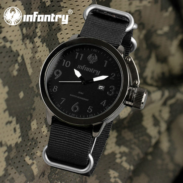 Infantry Army Men's Black Green Corps Date Waterproof Quartz Sport Military Wrist Watch Nylon Canvas Band with Box Wristwatches(Hong Kong)