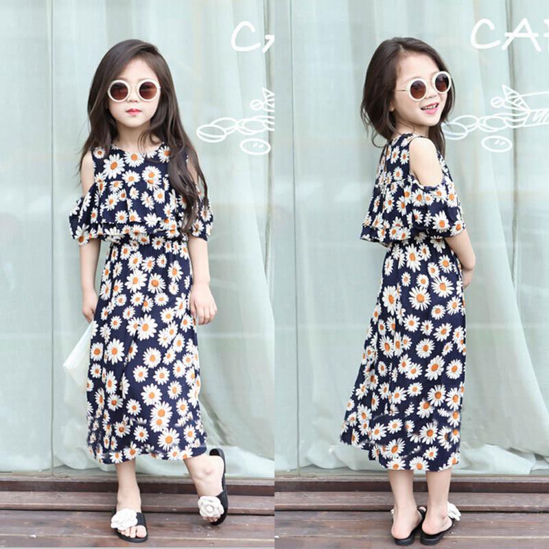 Retail Brand 2015 Summer Style New Hot Girls Maxi Dress LongKids Children Baby Girl Clothes Flower Printed Strapless Vestido(China (Mainland))