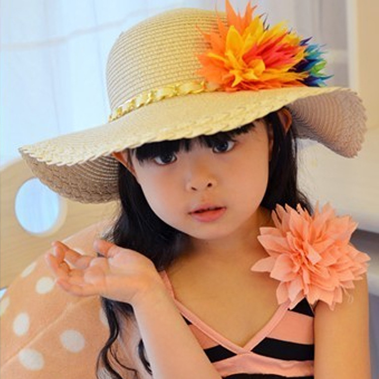 Summer hats for children large colorful flower cap wide brim hat for kid big twist textured beach hat kid straw hats wholesale(China (Mainland))