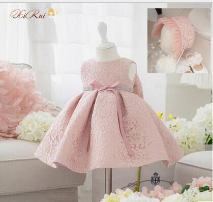 Newest Infant Baby Girl Birthday Party Dresses Baptism Christening Easter Gown Toddler Princess Lace Flower Dress for 3-24M(China (Mainland))