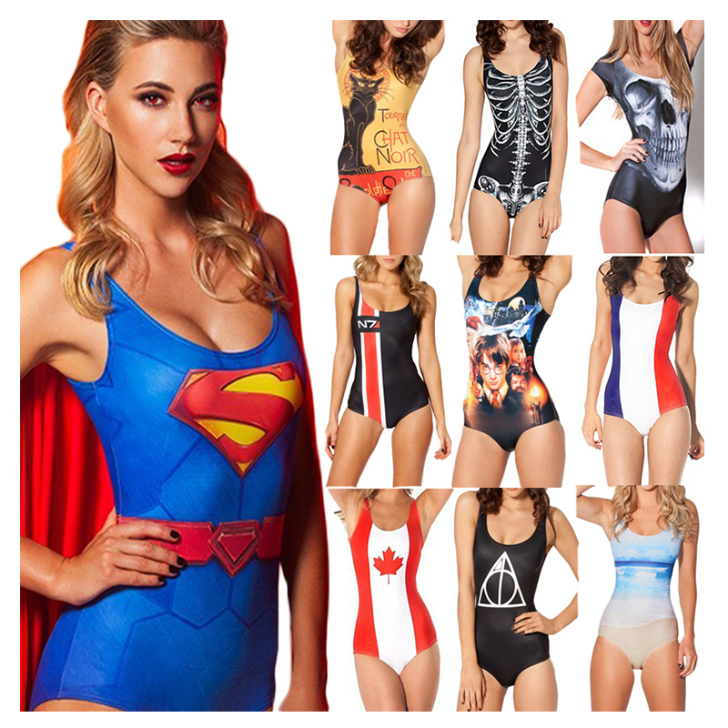 New! Sexy! 3D Printed Backless Swimwear Harajuku Fitness Women One Piece Sexy Swimsuit Beach O-Neck Elastic Sport Bathing SuitsОдежда и ак�е��уары<br><br><br>Aliexpress