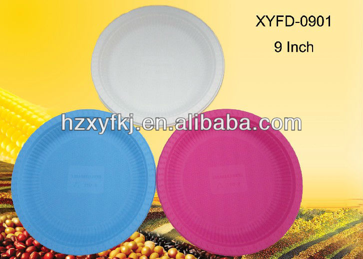 Cornstarch biodegradable disposable plastic 9 inch round dinner plates, cake dish with 600pcs(China (Mainland))