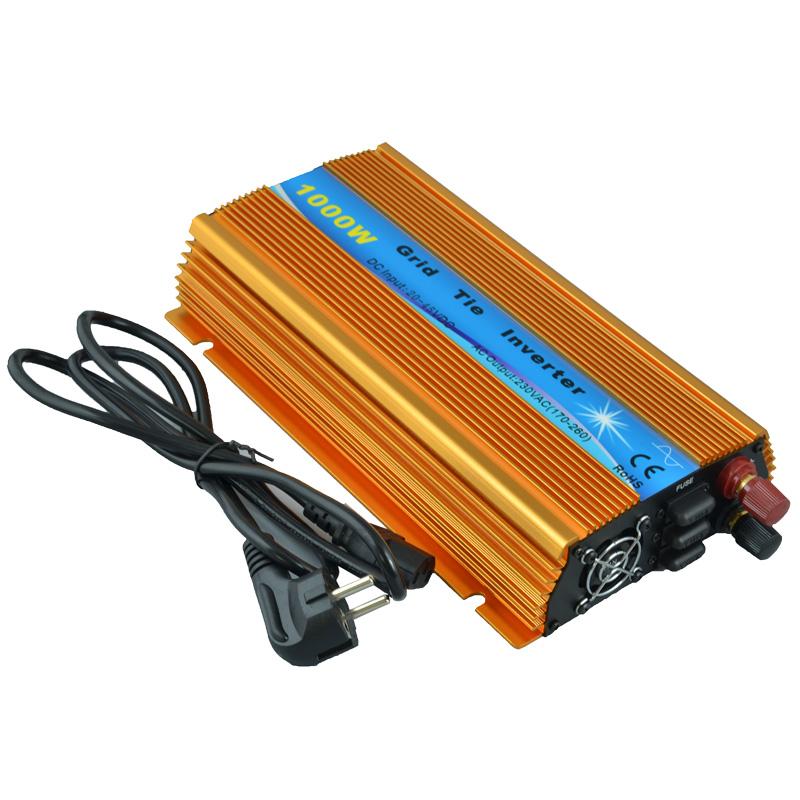 1000w grid tie inverter, 20V-45VDC, AC90V-140V or 190V-260V, workable for 1000W, 24V, 30V, 36V solar panel system(Hong Kong)